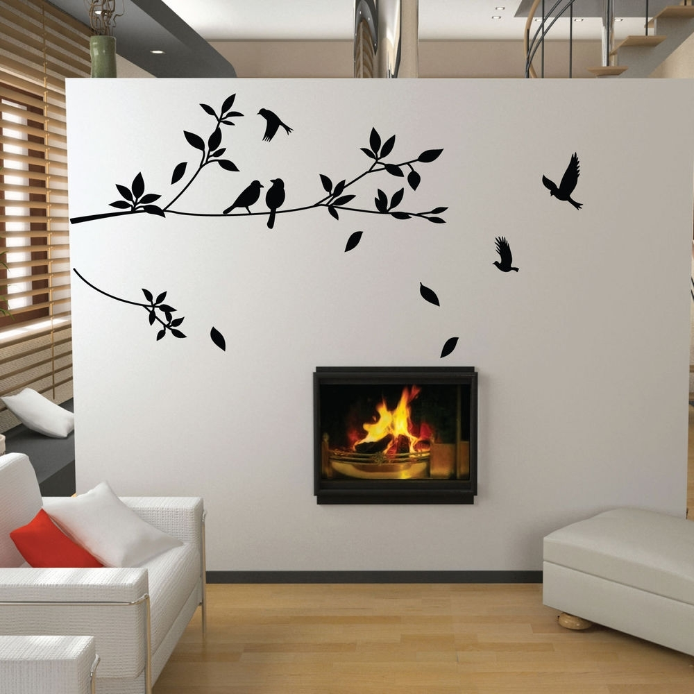 Tree And Bird Wall Stickers Vinyl Art Decals | Ebay With Regard To Most Up To Date Bird Wall Art (View 11 of 15)