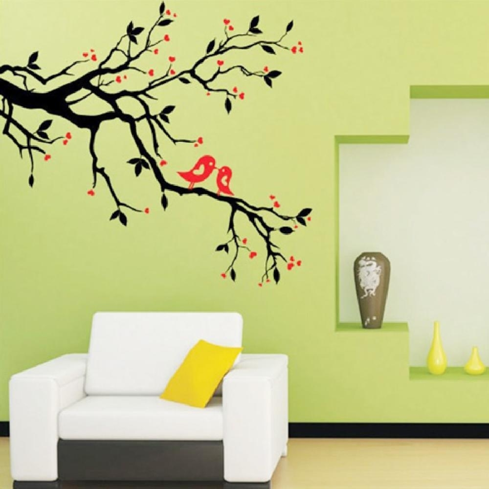 Tree Branch Love Birds Cherry Blossom Wall Decor Decals Removable Pertaining To Latest Wall Tree Art (View 18 of 20)
