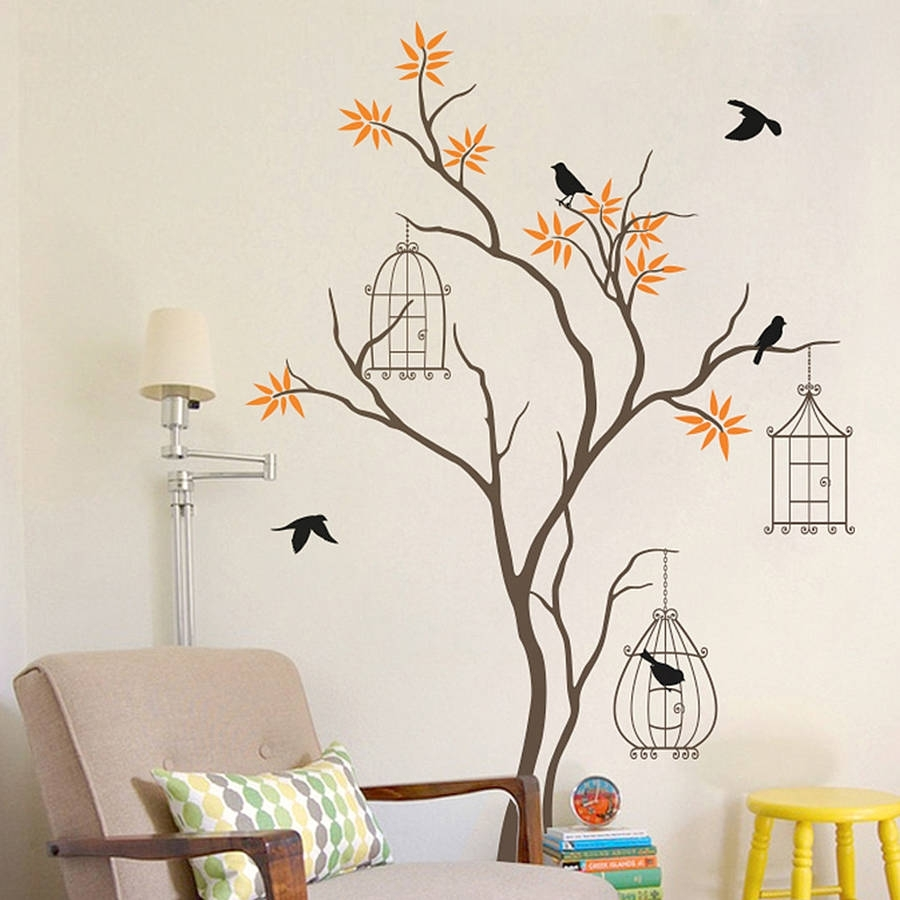 Tree With Birds And Birdcage Wall Decalwall Art Intended For Current Wall Tree Art (View 3 of 20)