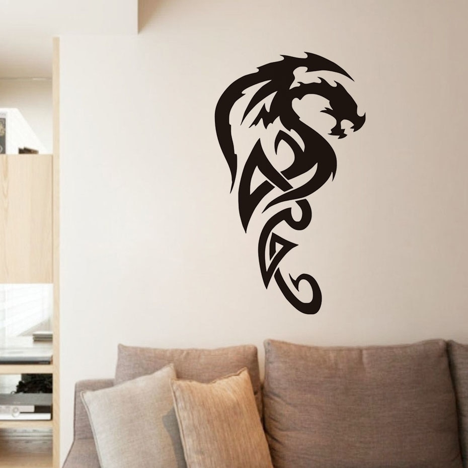 Tribal Royal Dragon Wall Stickers For Living Room Decor Vinyl With Regard To Newest Dragon Wall Art (View 18 of 20)