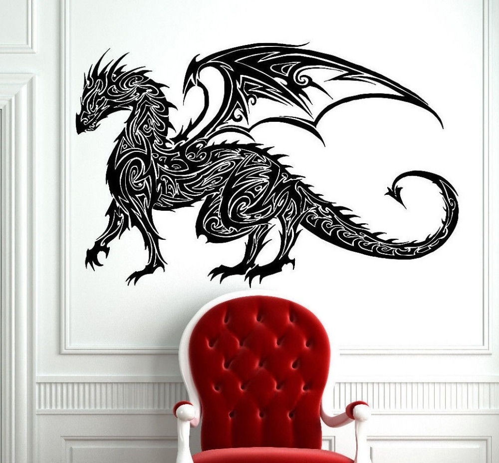 Tribal Tattoo Classic Chinese Dragon Wall Decal Sticker Decor Wall In Current Dragon Wall Art (View 19 of 20)