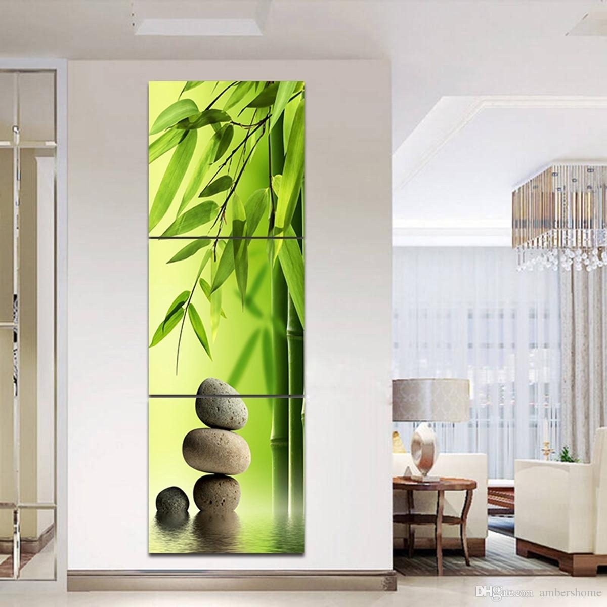 Triple Horizontal Bamboo Hand Painted Painting Canvas Art Pertaining With Latest Bamboo Wall Art (View 15 of 20)