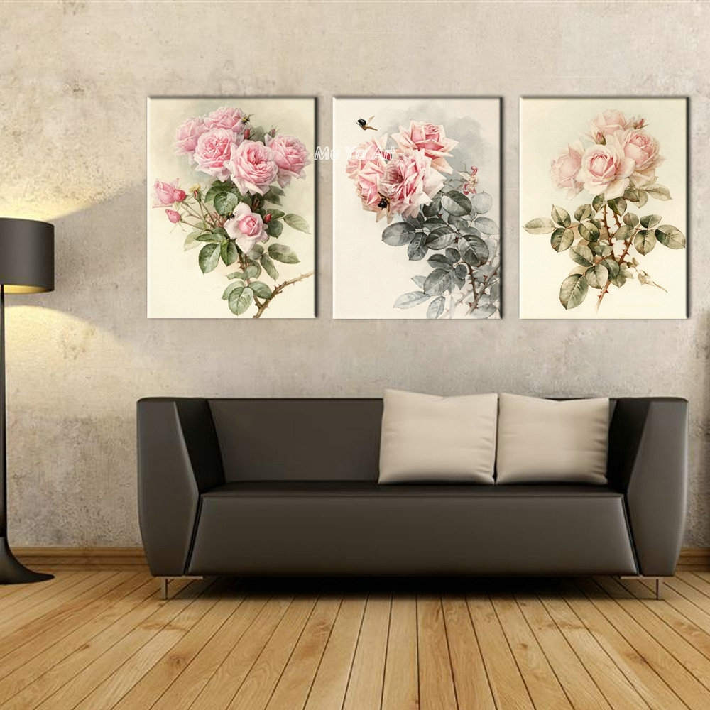 Triptych Canvas Prints Modern Girly Flower Painting Set Supplier Pertaining To 2018 Triptych Wall Art (View 18 of 20)