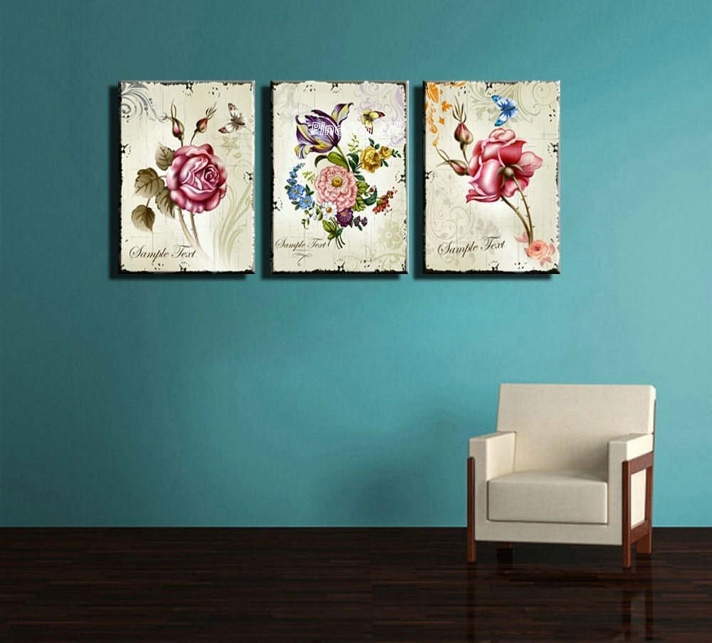 Triptych Cheap Modern Canvas Prints Rose Drawing Picture Wall Art Inside Most Recently Released Inexpensive Wall Art (View 11 of 20)