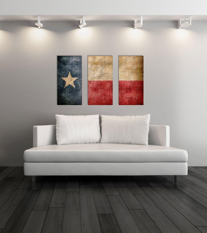 Triptych Vintage Texas Flag, Panel Canvas Art, Vintage Texas, Wall In Newest Texas Wall Art (View 8 of 20)