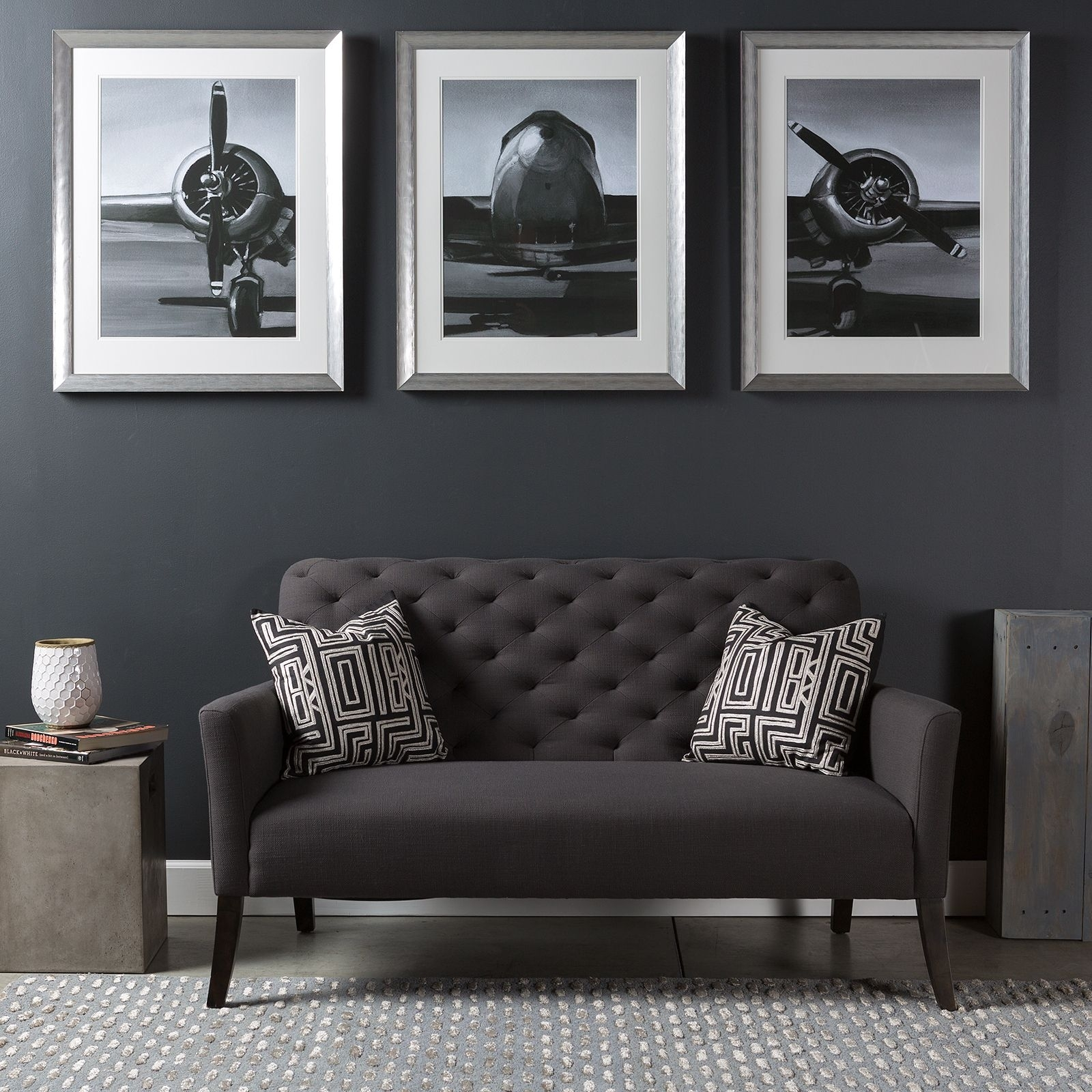 Triptych Wall Art Piece With A Modern Industrial Flare; A Series Of Pertaining To Latest Airplane Wall Art (View 18 of 20)