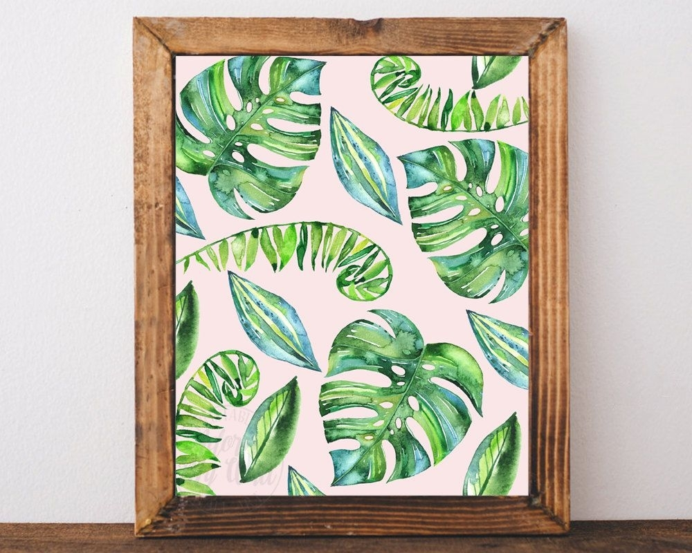 Tropical Leaf Print, Leaves, Palm, Tropical Decor, Tropical Wall Art With Latest Tropical Wall Art (View 14 of 20)