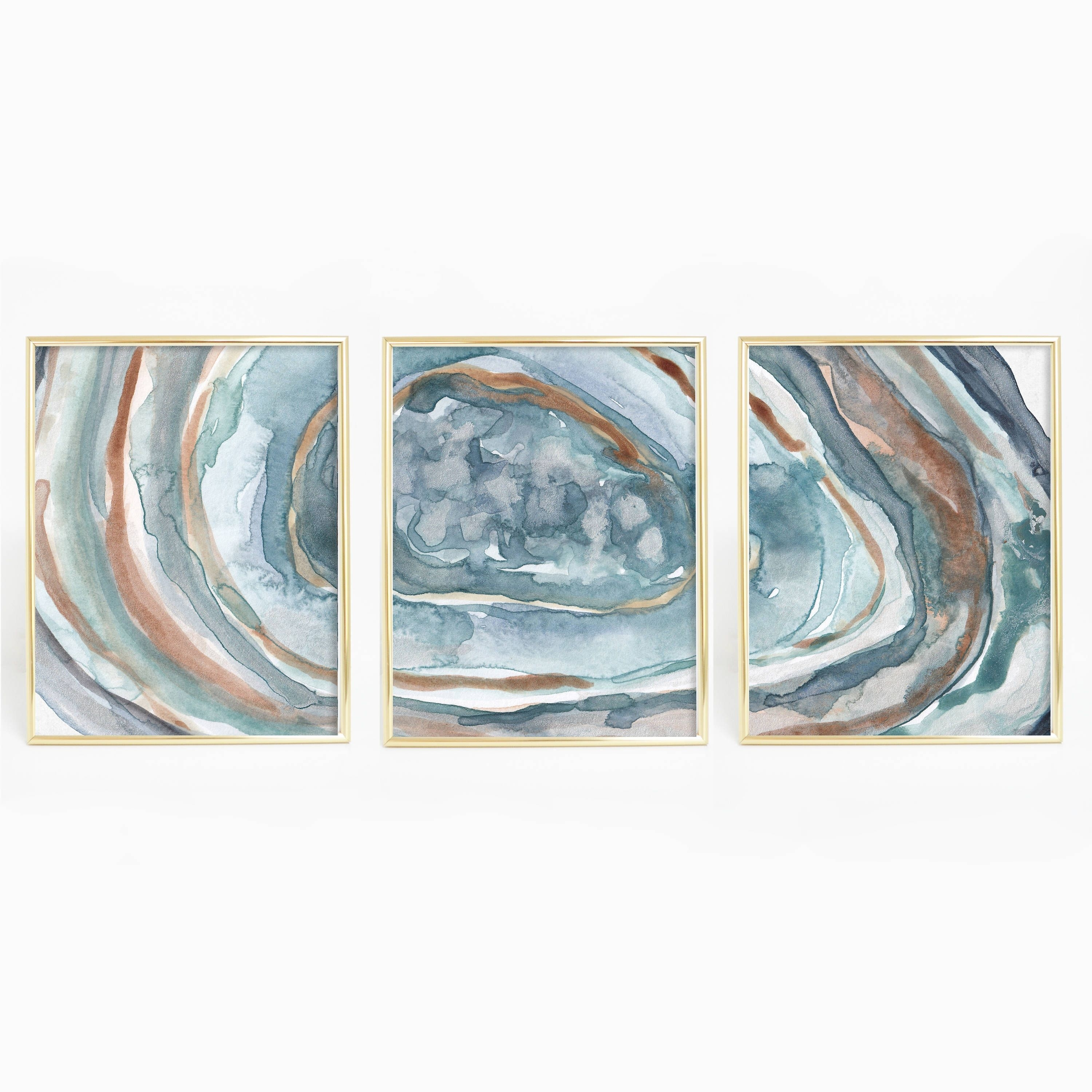 Turquoise Agate Print, Crystal Wall Art, Geode Painting, Watercolor For Most Up To Date Turquoise Wall Art (View 9 of 20)