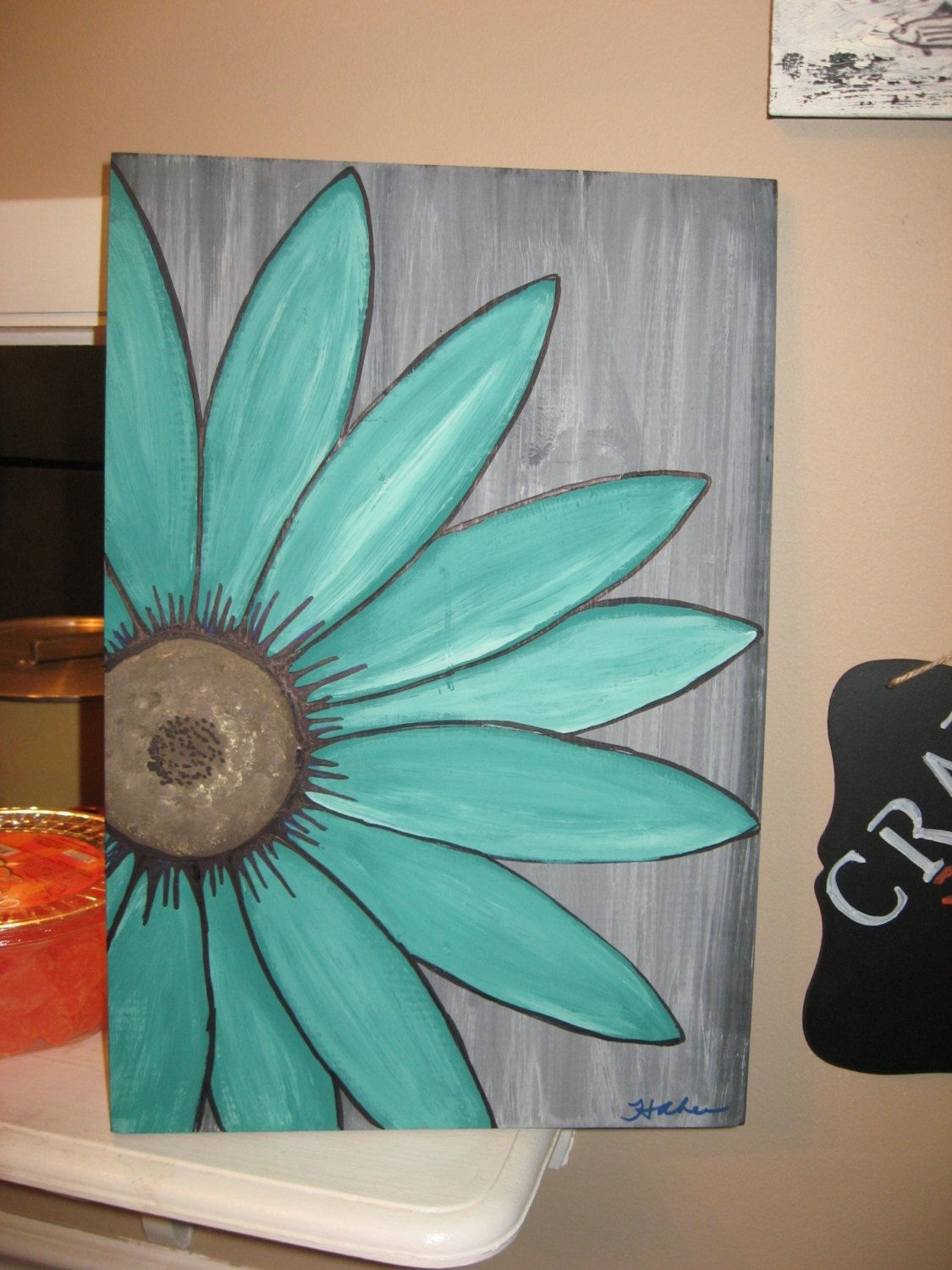 Turquoise Flower Daisy Painting Rustic Flower Wood Flower Wall Art Throughout Most Recent Turquoise Wall Art (View 15 of 20)