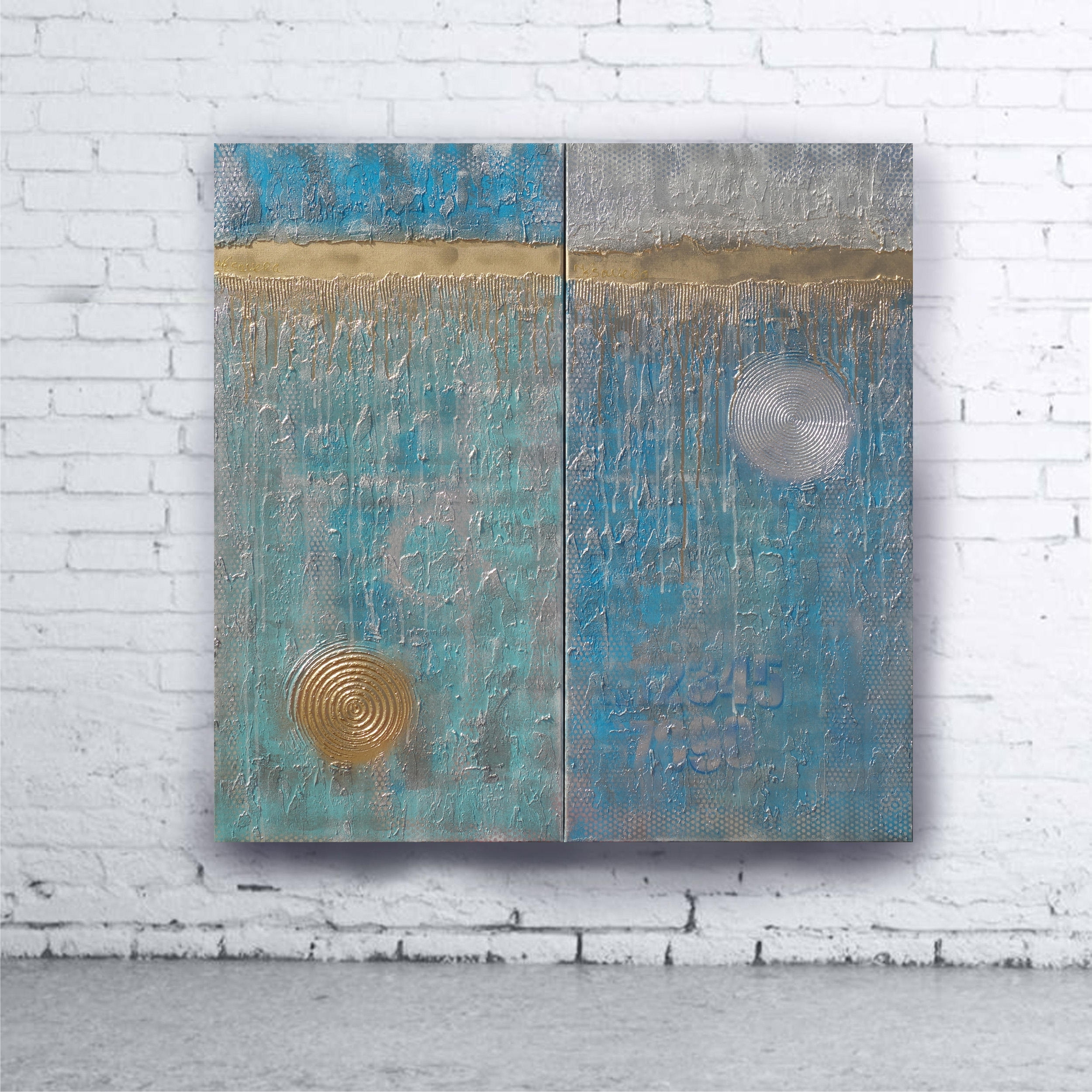 Turquoise Gold Abstract Painting Vertical Textured Wall Art A228 1 Inside Most Recently Released Turquoise Wall Art (View 15 of 20)