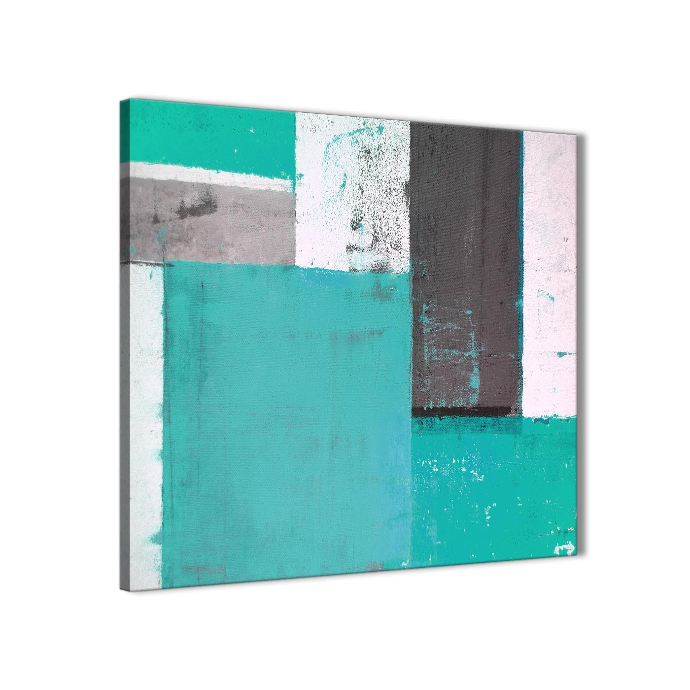 Turquoise Grey Abstract Painting Canvas Wall Art Modern 64Cm Square Throughout Most Current Turquoise Wall Art (Gallery 5 of 20)