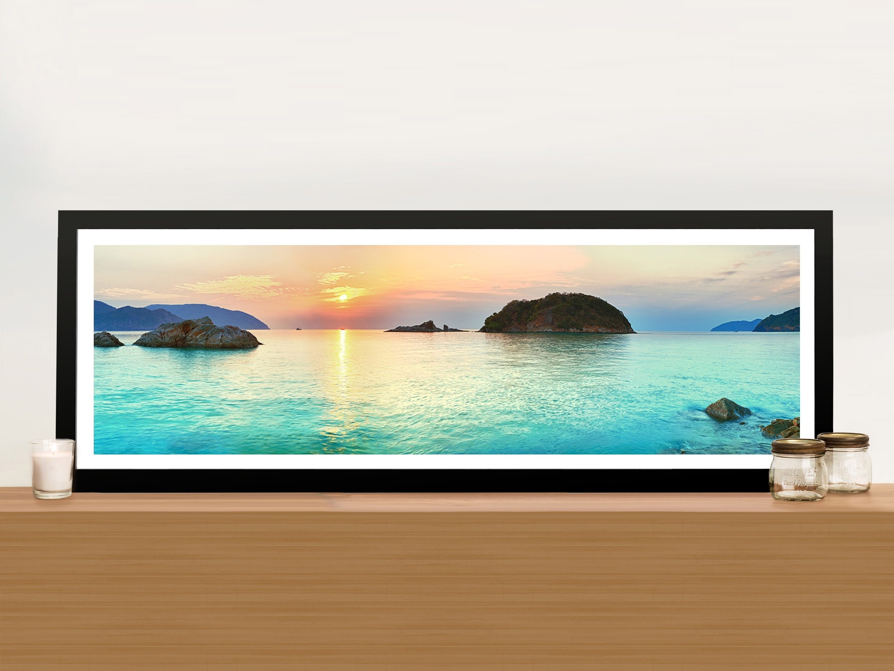 Turquoise Islands Panoramic Paradise Canvas Art Prints Tropical Island Inside Most Recently Released Panoramic Wall Art (View 2 of 15)