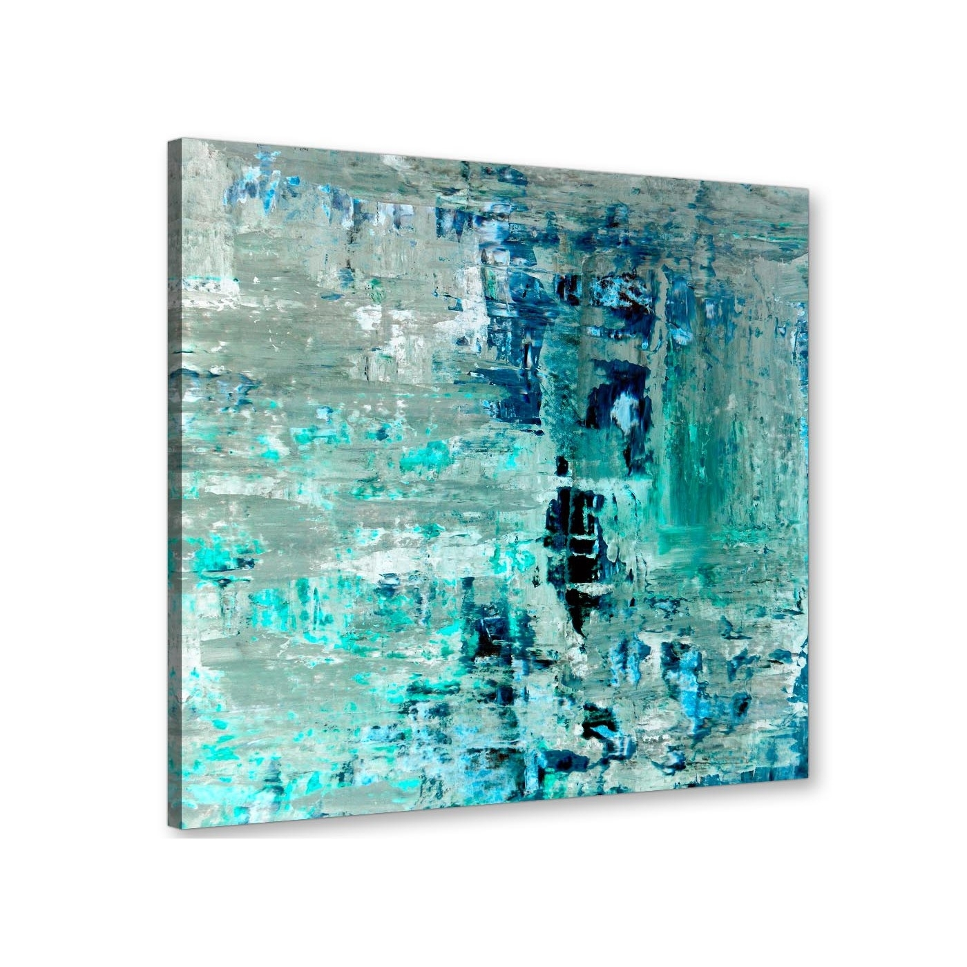 Turquoise Teal Abstract Painting Wall Art Print Canvas – Modern 64cm Regarding Most Recently Released Modern Abstract Painting Wall Art (View 17 of 20)
