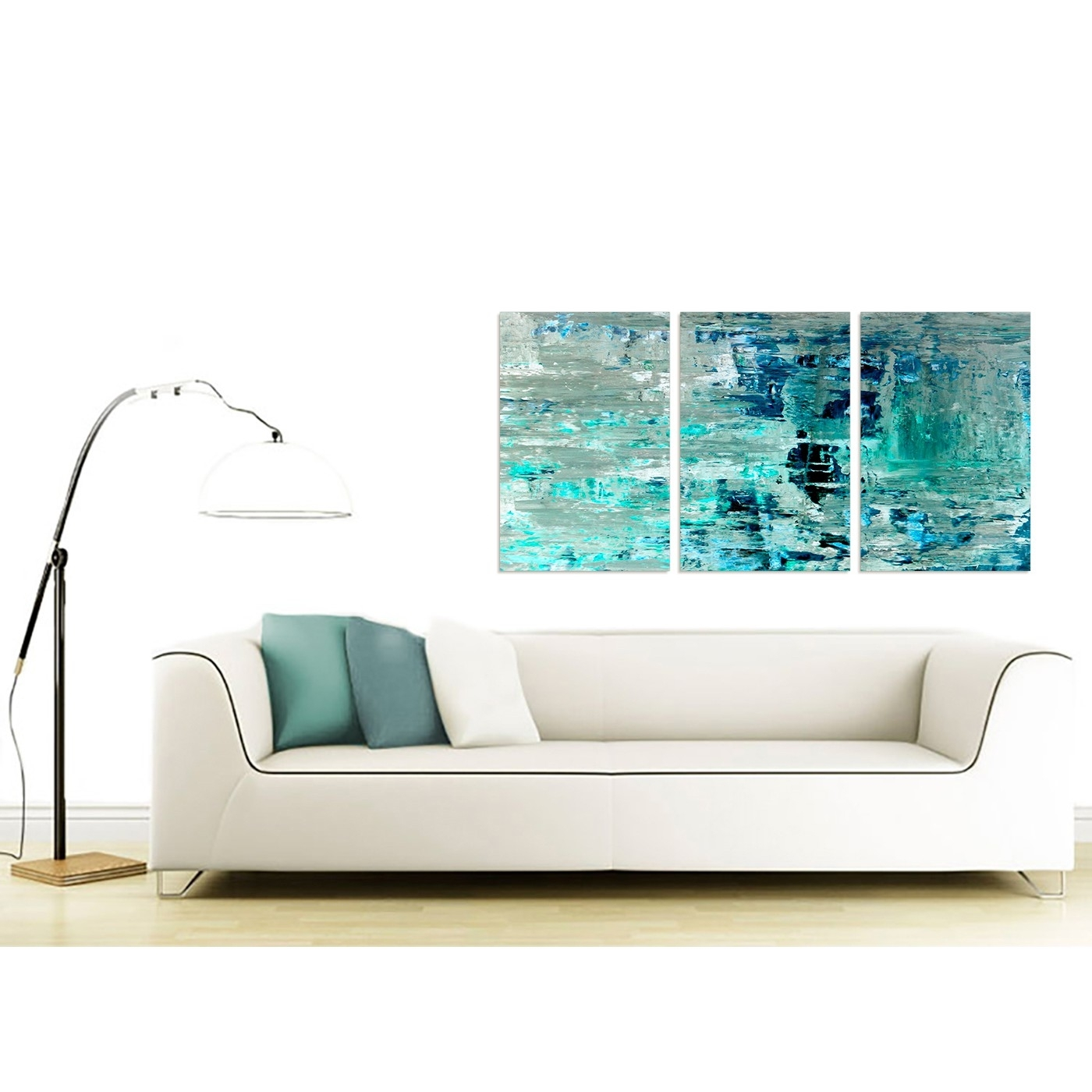 Turquoise Teal Abstract Painting Wall Art Print Canvas – Multi 3 Pertaining To Most Current Living Room Painting Wall Art (View 16 of 20)