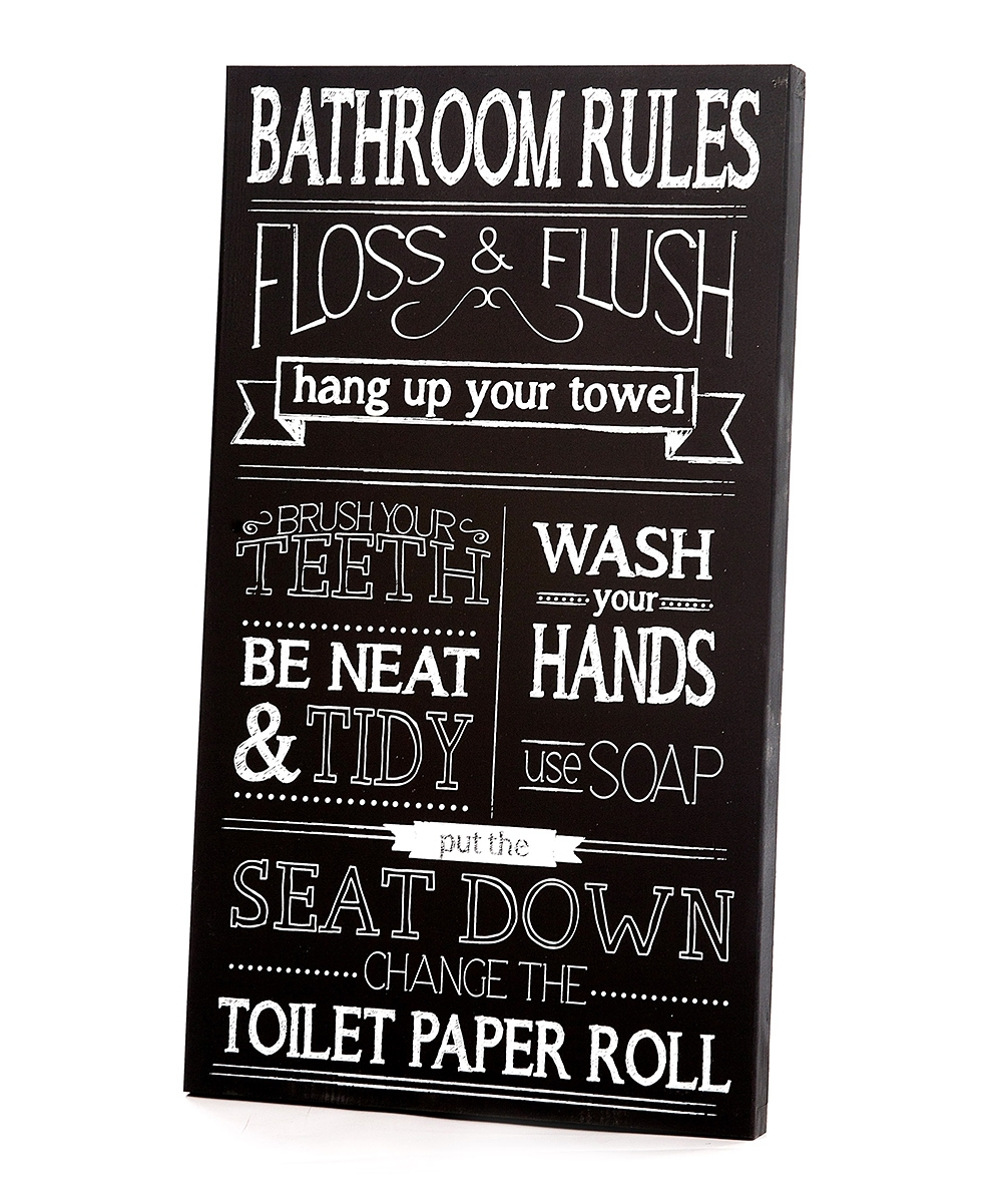 Twelve Timbers Black & White Bathroom Rules Wall Art | Zulily Throughout Current Bathroom Rules Wall Art (View 20 of 20)