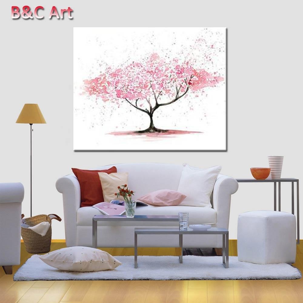 Ukuran Custom Wall Art Abstrak Pink Pohon Cetak Lukisan Untuk Kantor Regarding 2017 Custom Wall Art (View 17 of 20)