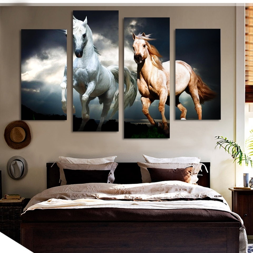 Unframed 4 Pcs Horse Painting Canvas Wall Art Picture Home Intended For Most Recent Horse Wall Art (View 12 of 15)