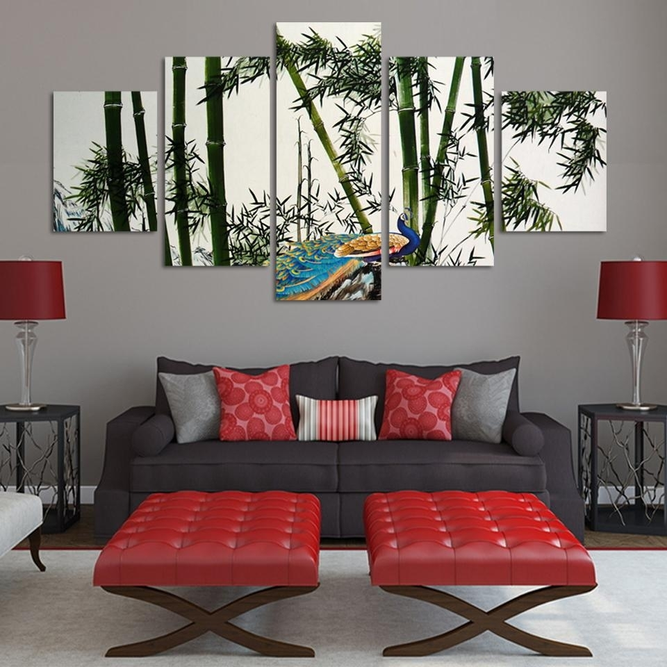 Unframed 5 Panels Bamboo And Peacock Modern Wall Painting Green inside Most Popular Bamboo Wall Art