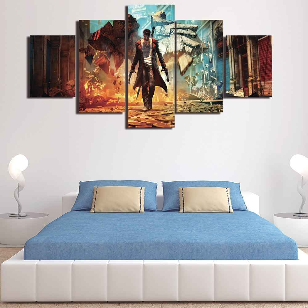 Unframed 5 Pieces Modern Wall Art Picture Hd Painting On Canvas Inside Best And Newest Wall Art For Men (Gallery 3 of 15)