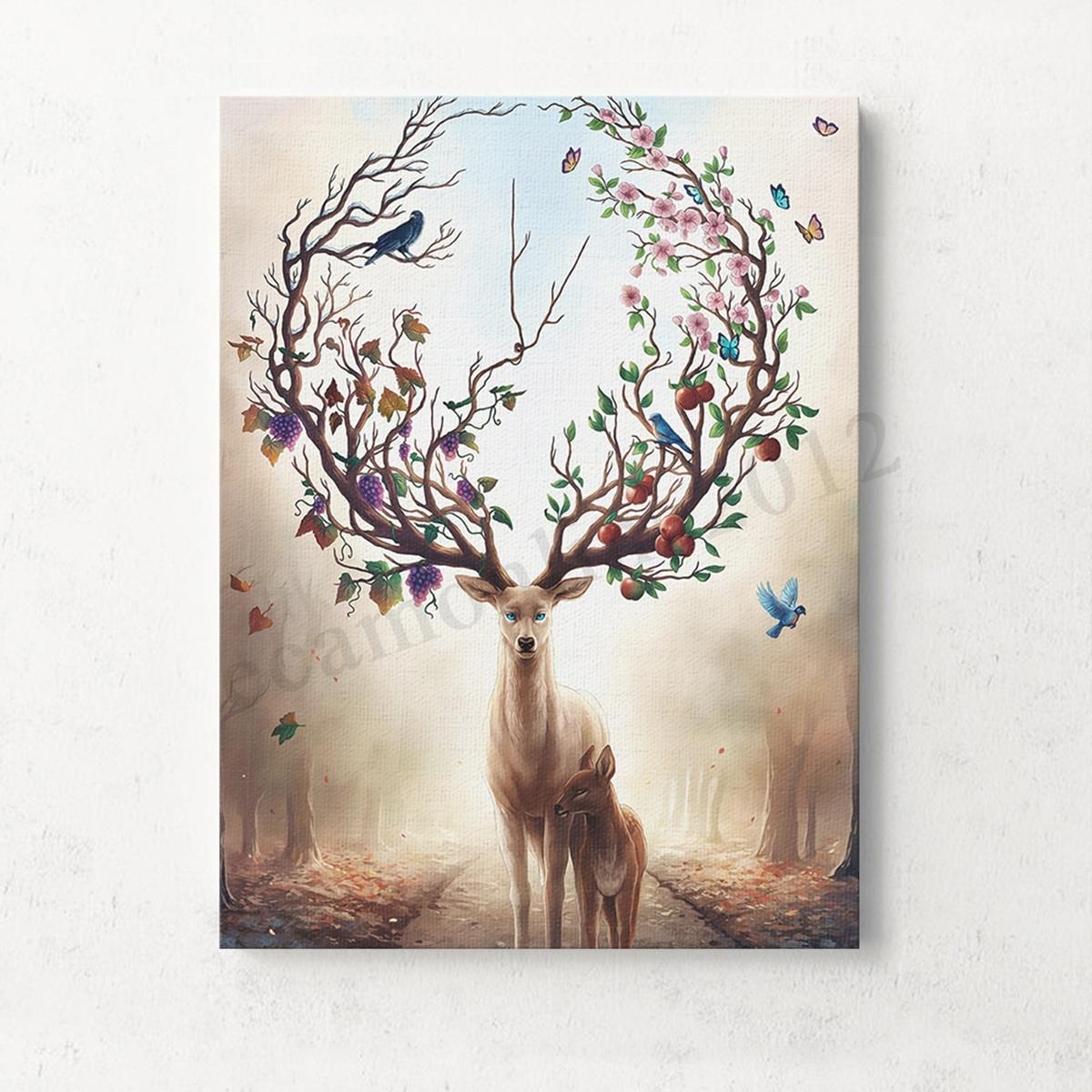 Unframed Canvas Print Deer Design Modern Home Decor Wall Art Intended For Recent Home Decor Wall Art (View 18 of 20)