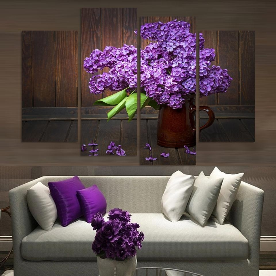 Unframed)4 Pieces Modern Home Decor Wall Art Picture For Living Room Inside 2018 Purple And Grey Wall Art (View 20 of 20)