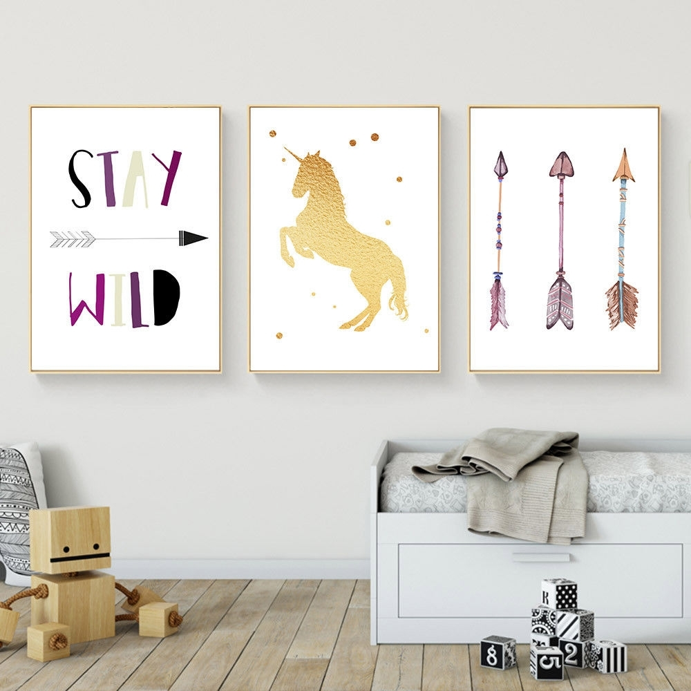 Unicorn Arrow Wall Art Canvas Poster Nursery Quote Prints Kids Pertaining To 2017 Arrow Wall Art (View 13 of 20)