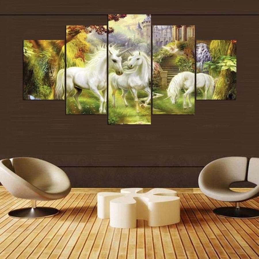 Unicorn Family Multi Panel Wall Art Canvas – Mighty Paintings for Most Current Multi Panel Wall Art