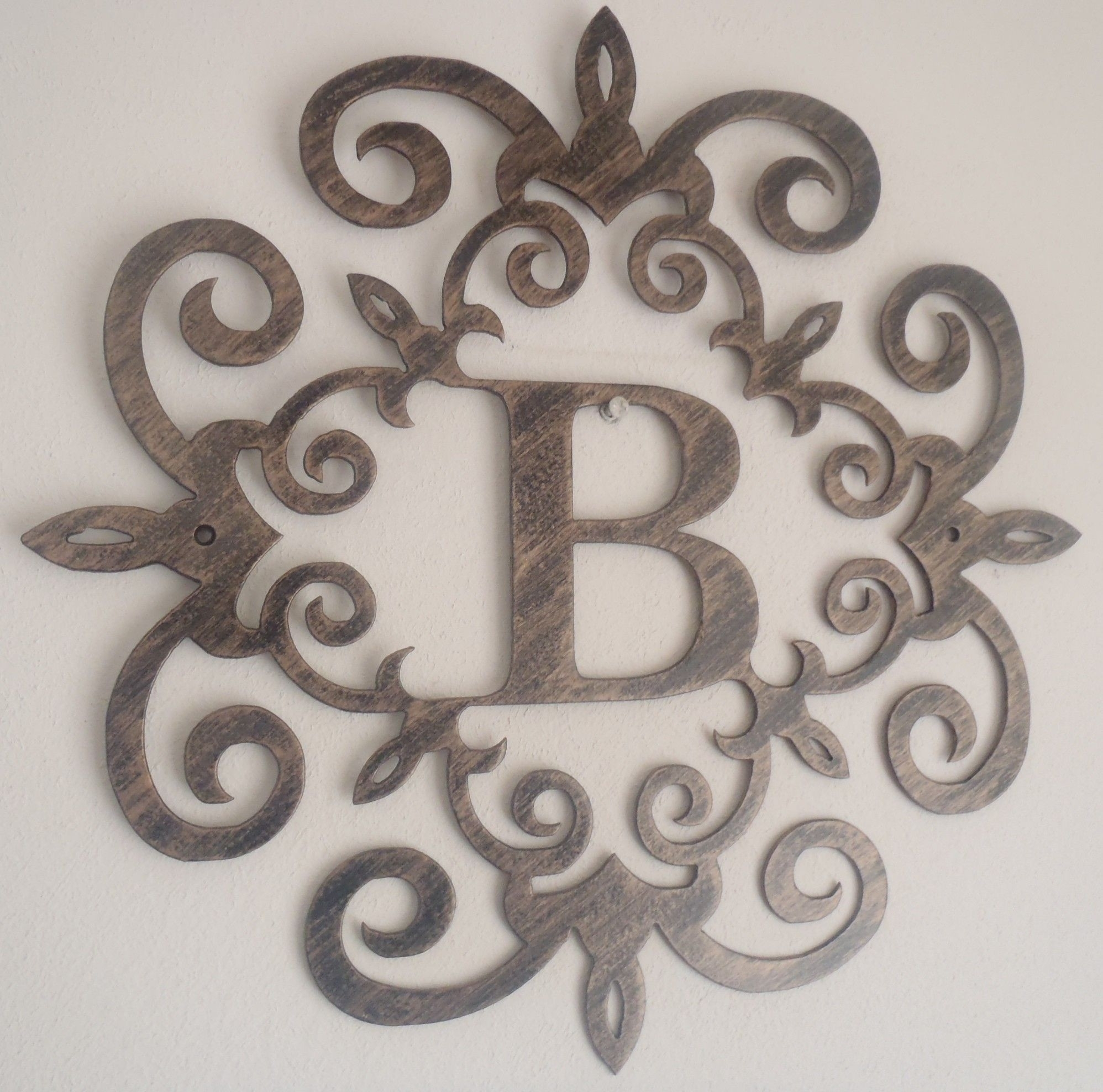 Unique Large Monogram Letters Wall Decor | Northstarpilates in Most Popular Metal Letter Wall Art
