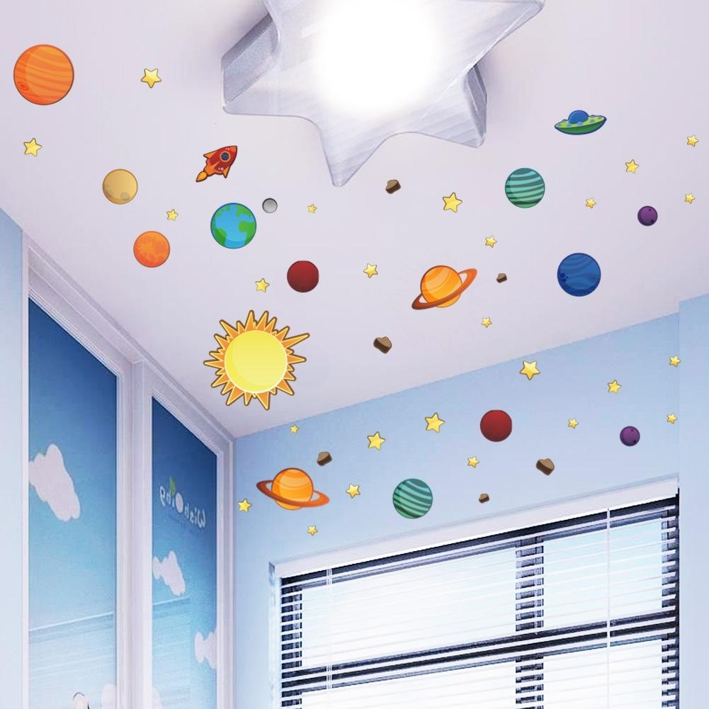 Universe Wall Stickers For Kids Room Nursery Adesivos De Parede Pvc within Most Recently Released Kids Wall Art