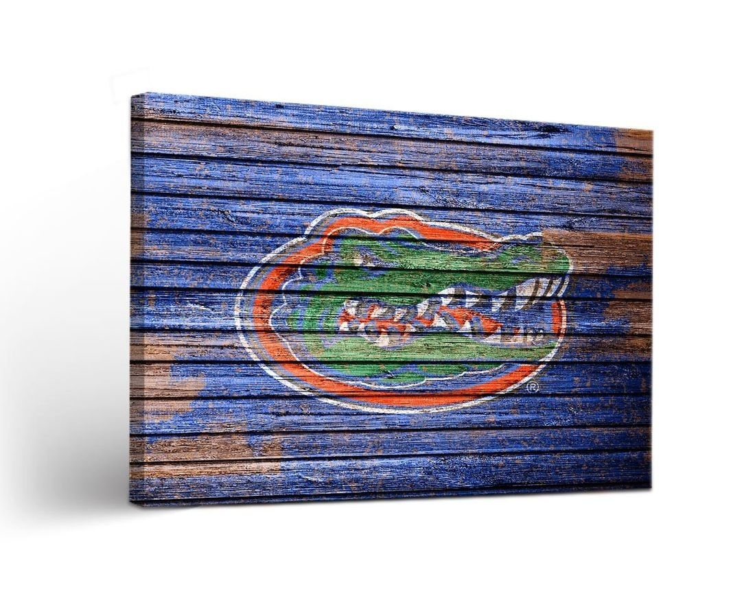 University Of Florida Gators Uf Canvas Wall Art Weathered Design Within Recent Florida Wall Art (View 18 of 20)