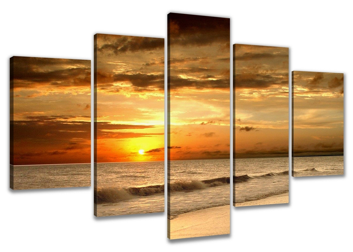 Urban Designs 'beach' Multi-Piece Image Photographic Print On Canvas intended for Current Multi Piece Wall Art