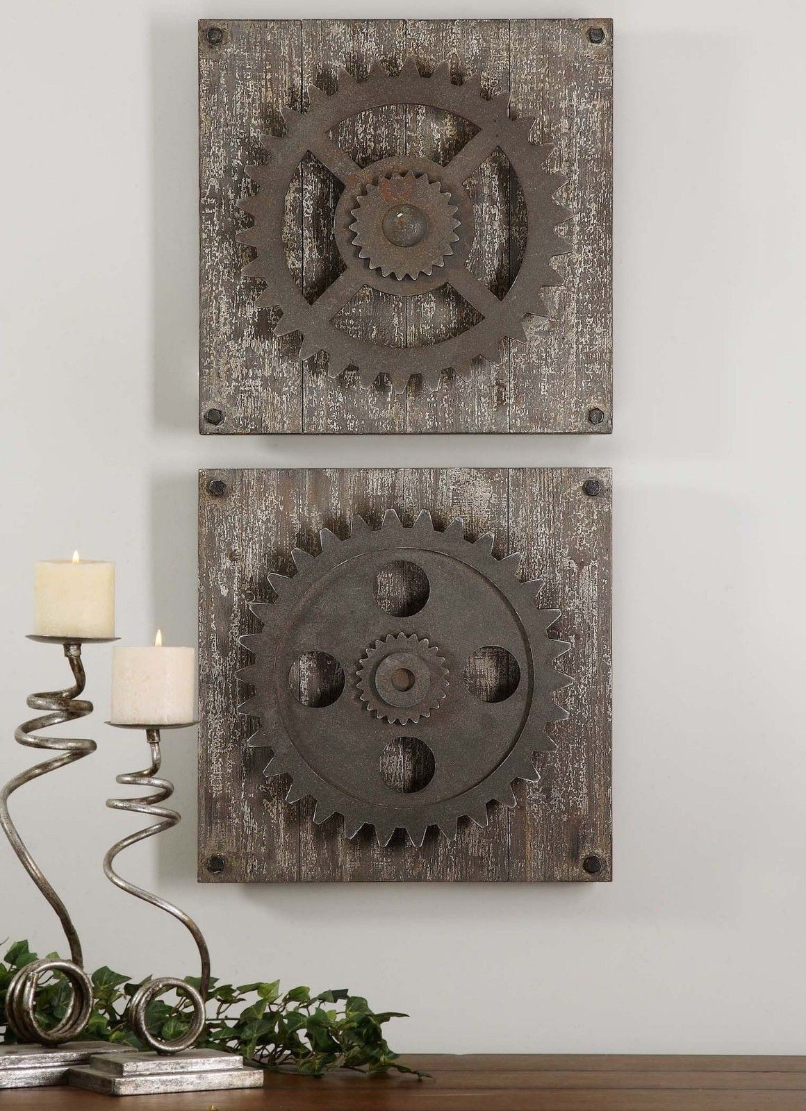 Urban Industrial Loft Steampunk Decor Rusty Gears Cogs 3D Wall Art Throughout Recent Art Wall Decor (View 16 of 20)