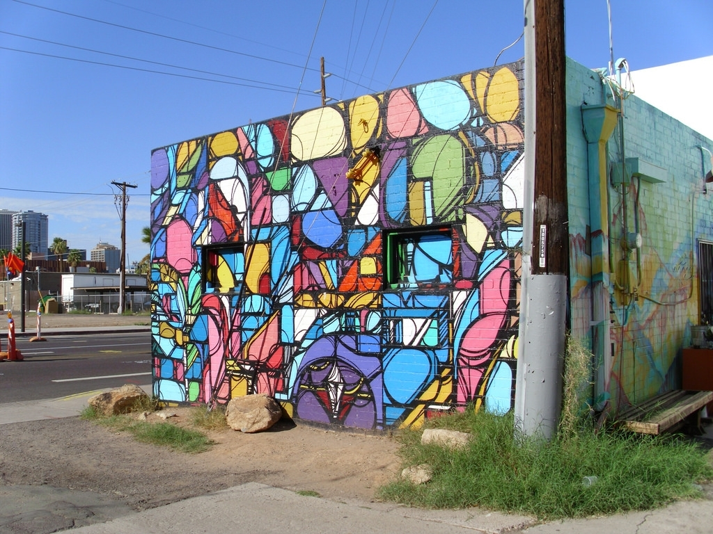 Urban Street Art, Colorful Origami Mural, Back Wall Of Mon… | Flickr Inside Most Up To Date Arizona Wall Art (View 15 of 20)