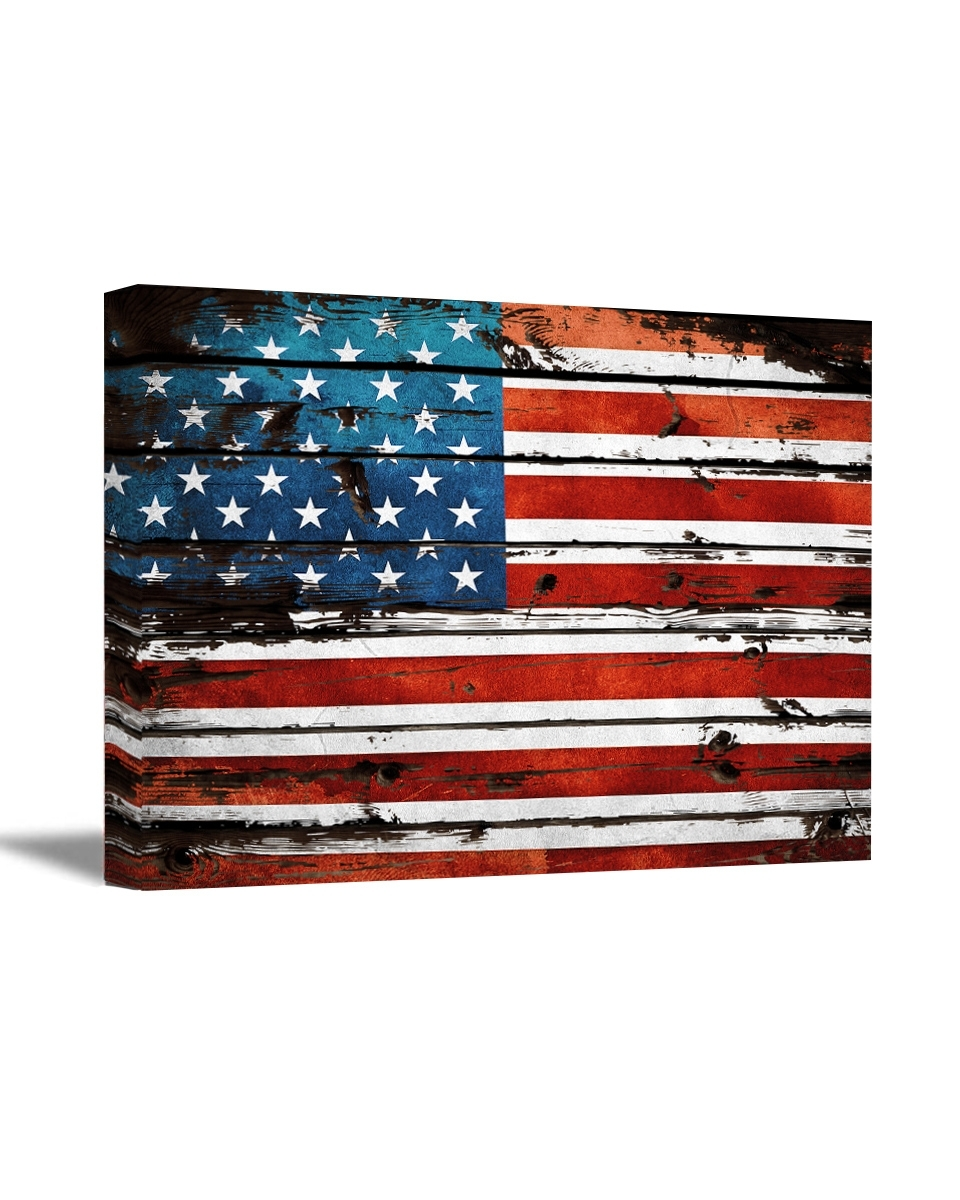 Usa Flag Canvas Art Retro Rustic Style Art American Flag Wall Art Within Most Recent Rustic American Flag Wall Art (Gallery 10 of 20)