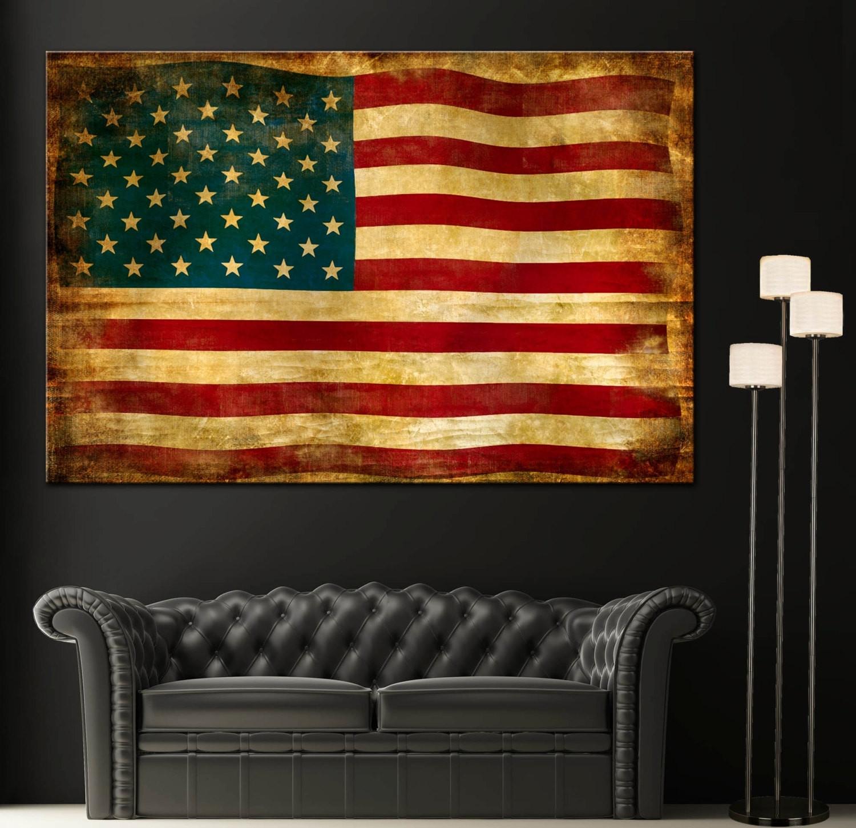 Usa Flag Wall Decor Fresh Vintage American Flag Home Decor Wall Art With Latest Vintage American Flag Wall Art (View 19 of 20)