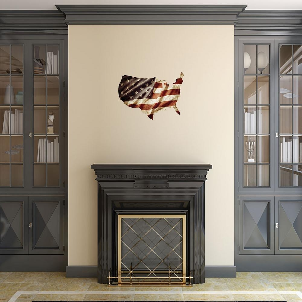 Usa Shape With American Flag Metal Wall Art 101209011 – The Home Depot Throughout Current American Flag Wall Art (Gallery 12 of 15)