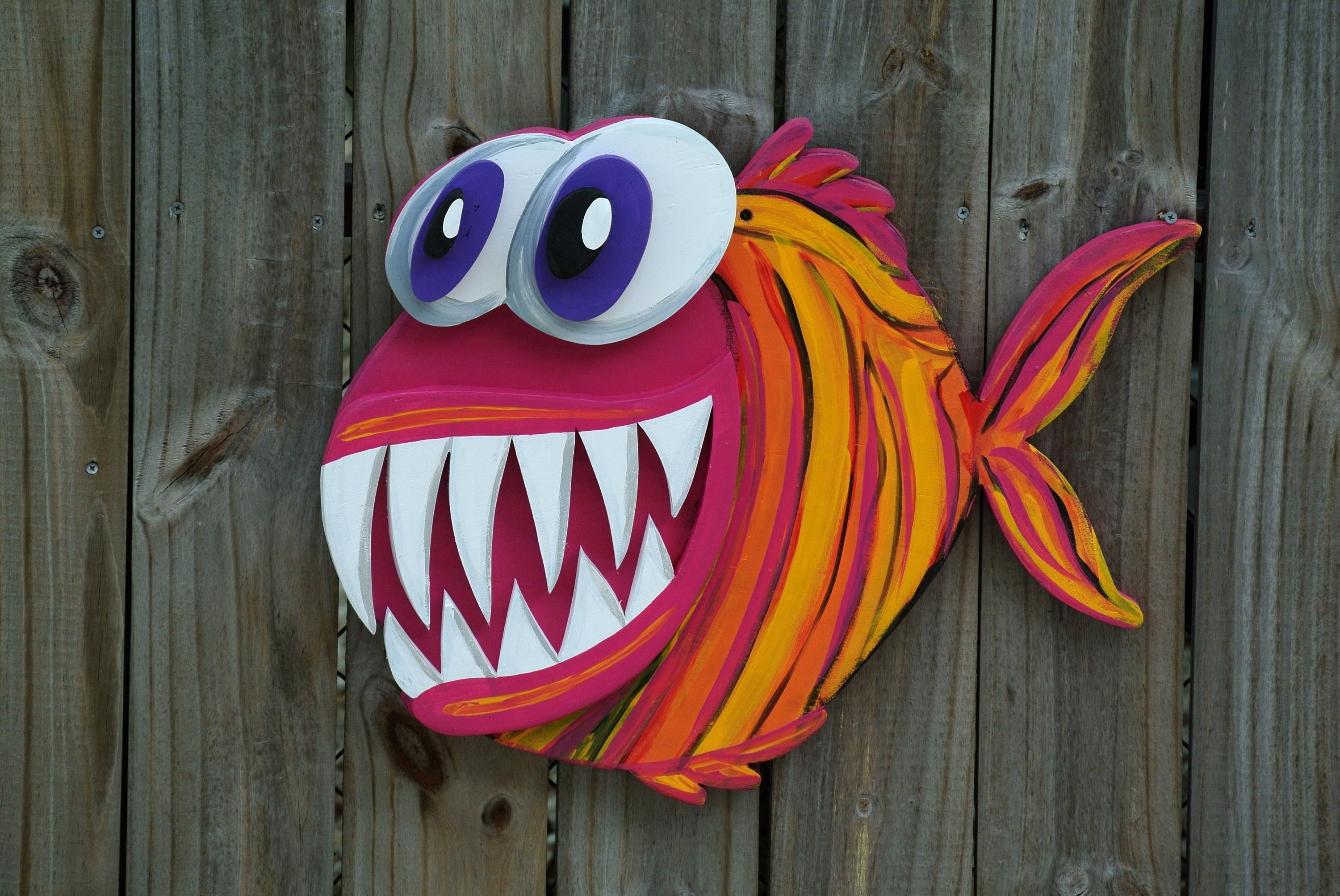Valentines Gift Idea 3D Angler Fish Wood Sign, Large Outdoor Wall Throughout Recent Large Outdoor Wall Art (View 18 of 20)