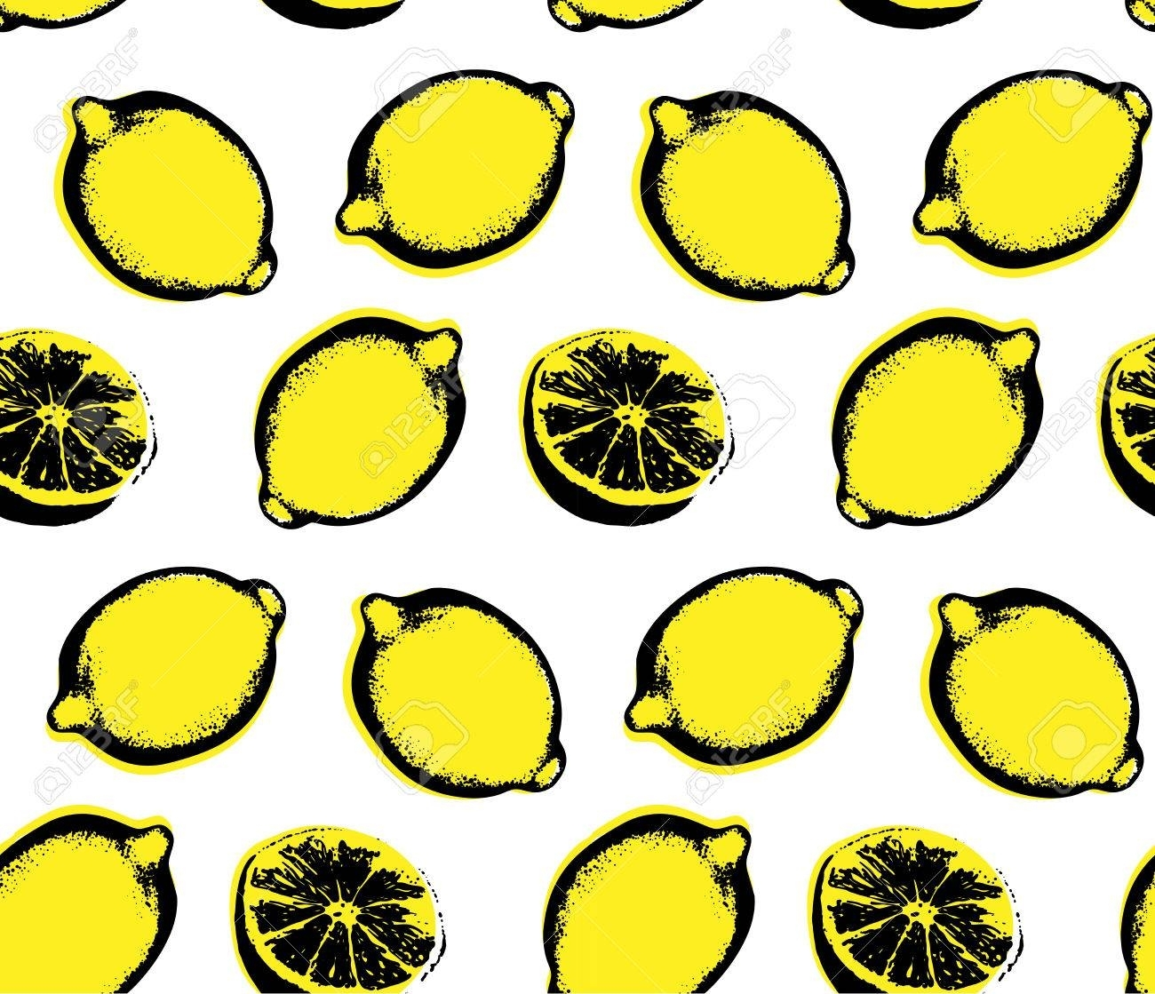 Vector Hand Drawn Lemon Seamless Pattern. Sketch. Pop Art (View 14 of 20)
