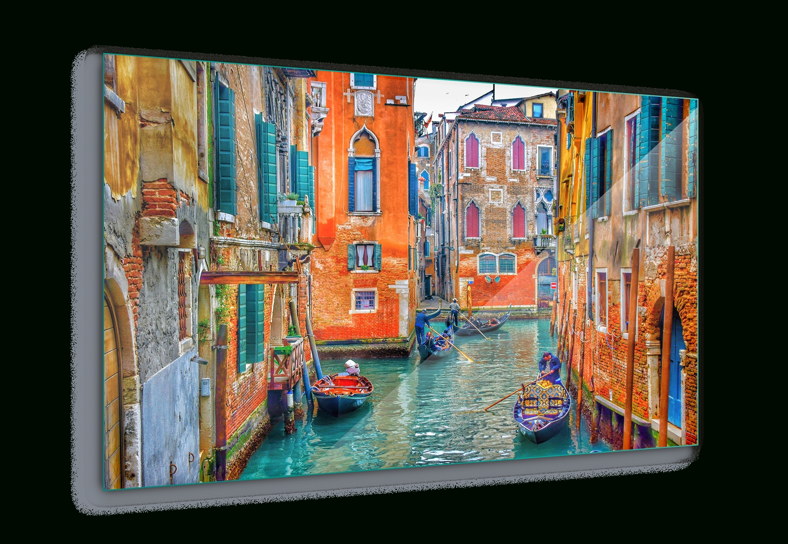 Venice Italy Canal Colours Canvas & Glass Wall Art Pictures (Fw 1295 Intended For Most Recent Glass Wall Art (View 14 of 15)