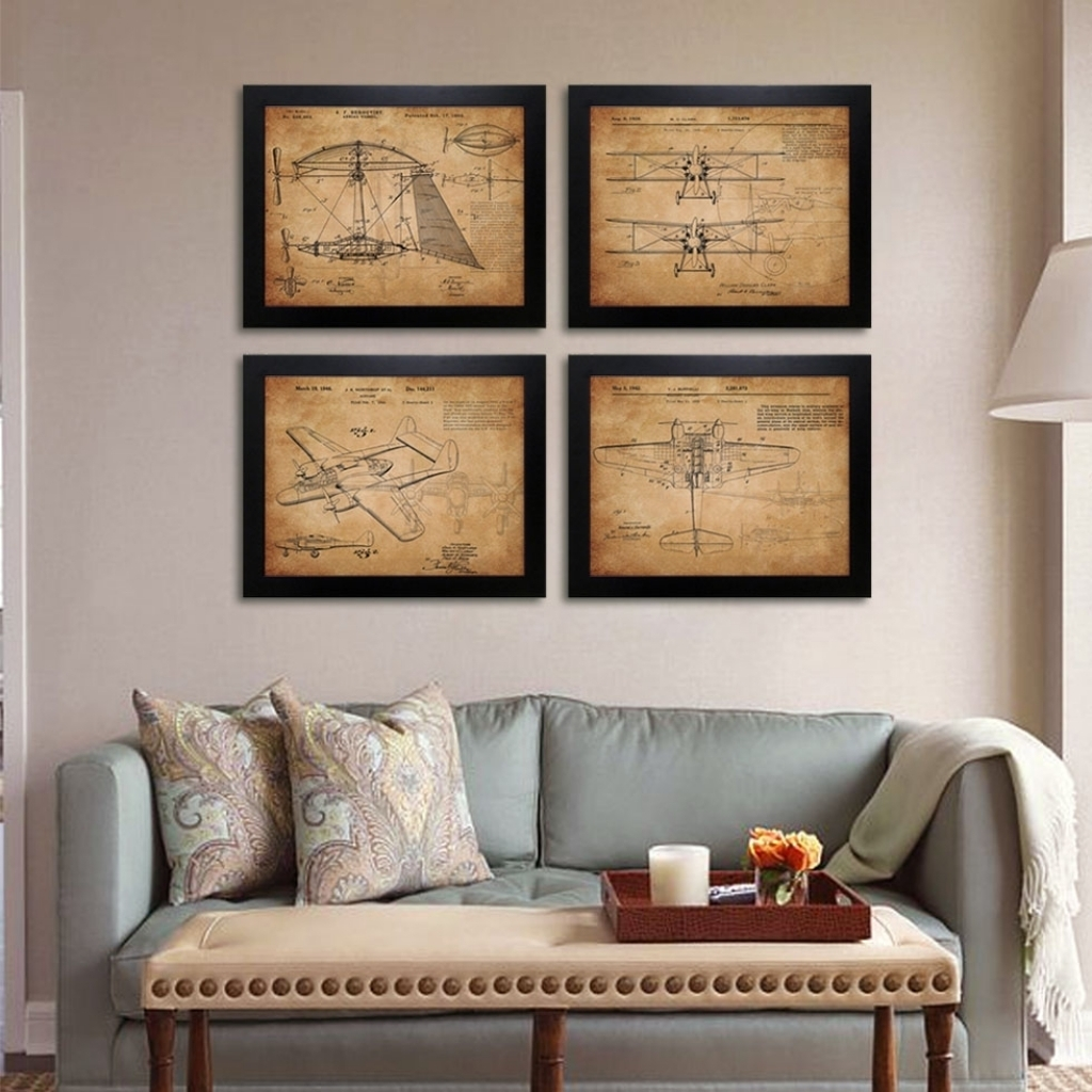 Vintage Airplane Patent Art Prints 4 In 1 Airplane Sketchup intended for Most Recently Released Aviation Wall Art
