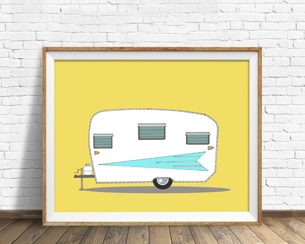 Vintage Camper, Mid Century Modern, Camper, Large Wall Art, Orange inside Most Recently Released Mid Century Modern Wall Art