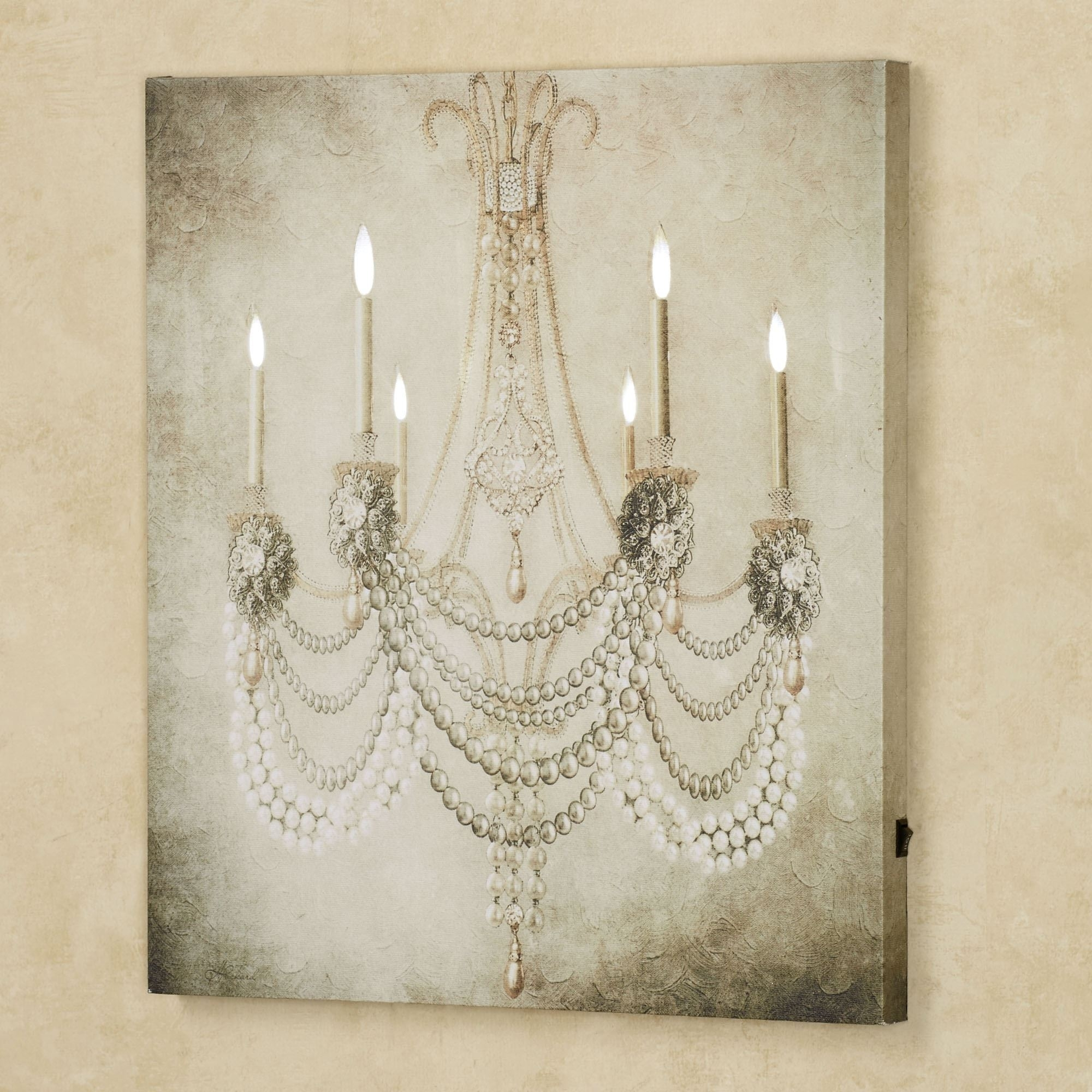 Vintage Chandelier Led Lighted Canvas Art With Regard To Recent Lighted Wall Art (View 5 of 20)