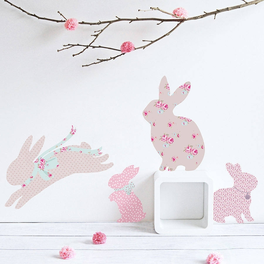 Vintage Floral Rabbit Wall Stickerskoko Kids Throughout Most Popular Bunny Wall Art (View 5 of 20)
