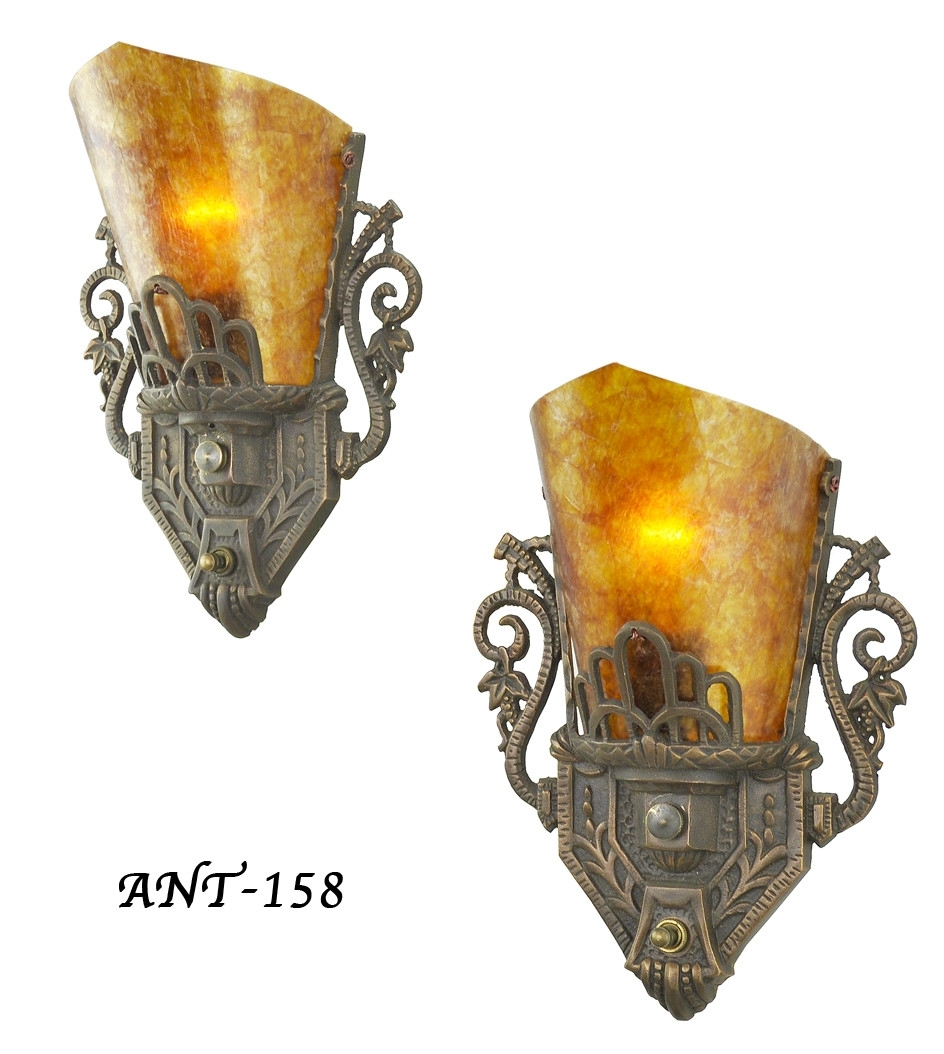 Vintage Hardware & Lighting – Pair Of Antique Restored Art Deco Wall For Latest Art Deco Wall Sconces (View 19 of 20)