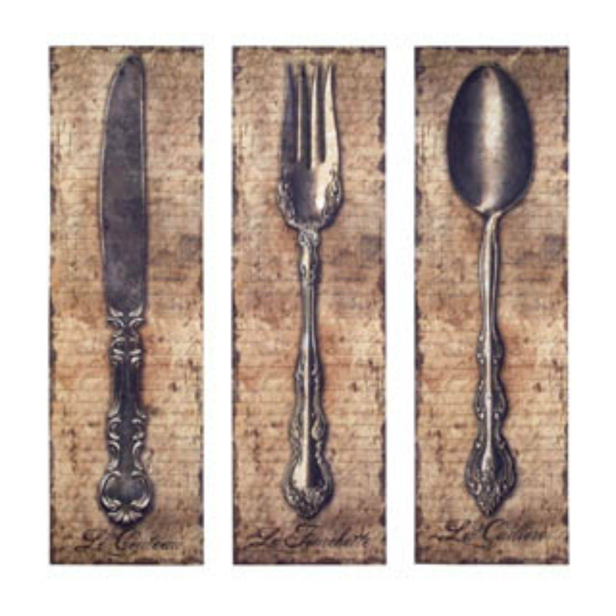 Vintage Kitchen Silverware Canvas Wall Art Spoon Knife Fork Intended For Current Fork And Spoon Wall Art (View 19 of 20)