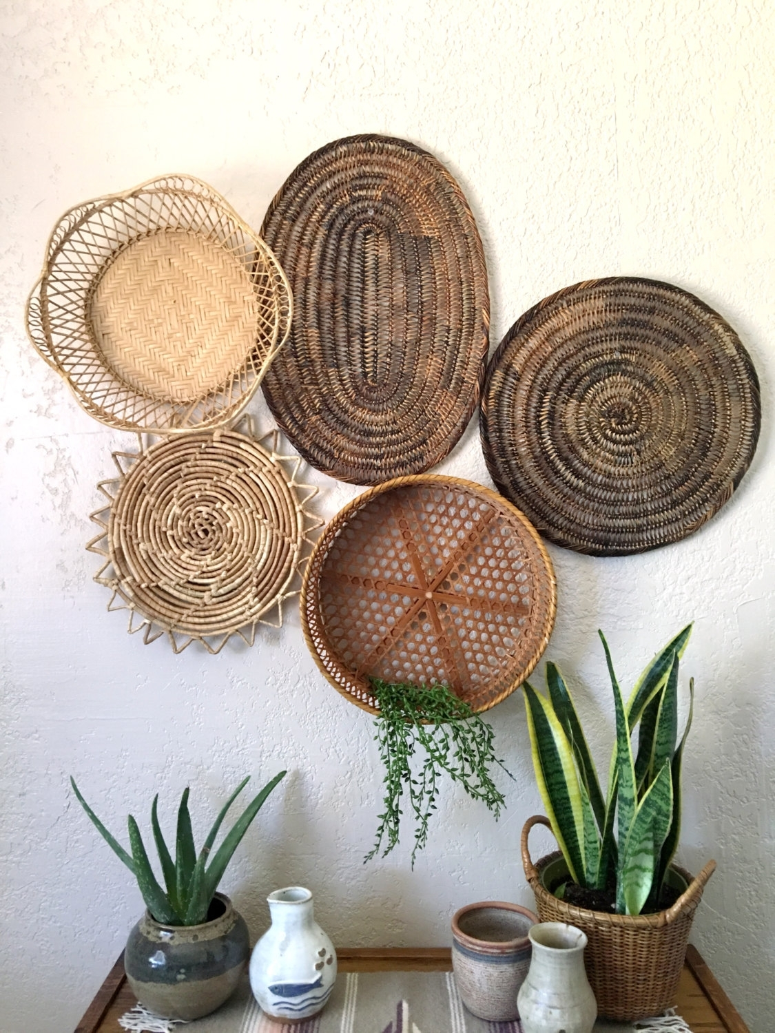 Vintage Oval Brown Woven Wicker Basket / Trivet / Placemat, Woven With Most Popular Woven Basket Wall Art (Gallery 15 of 20)
