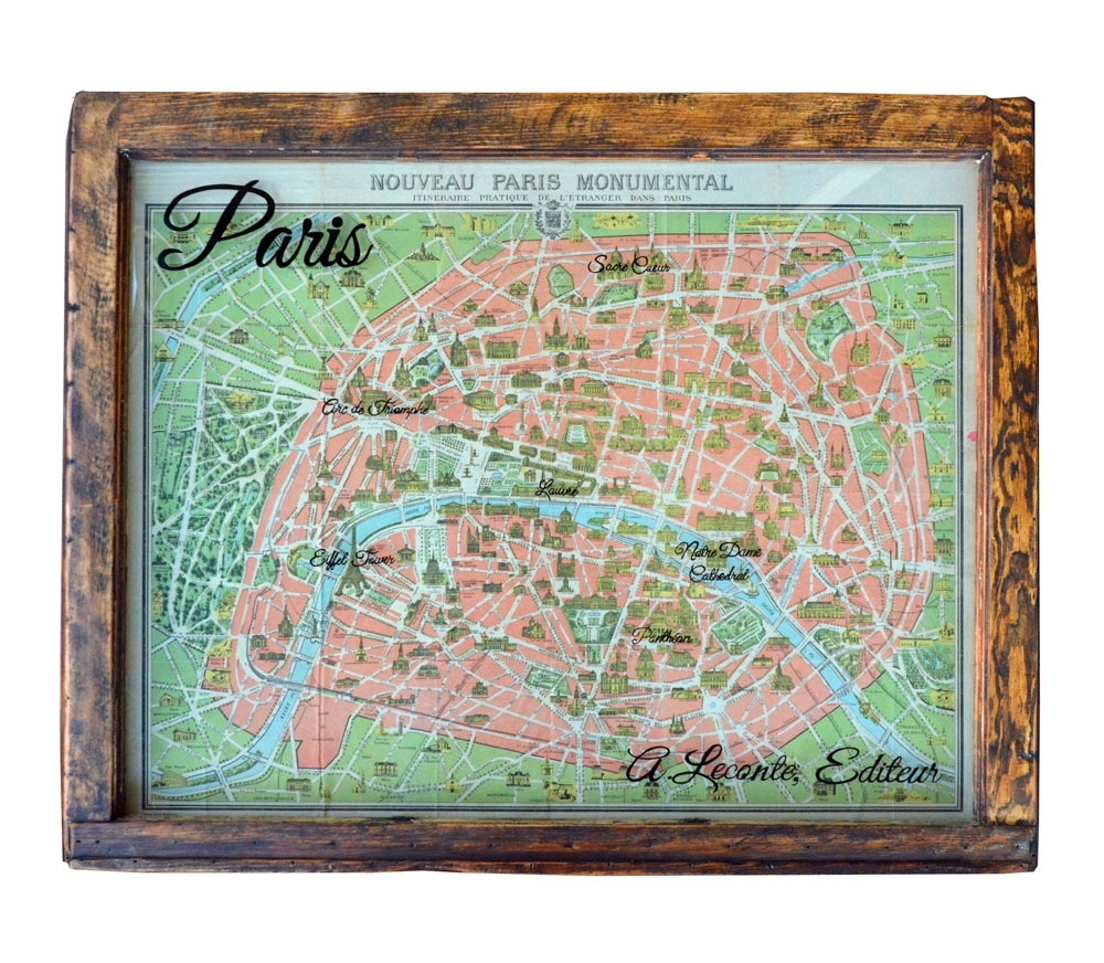 Vintage Paris Map Wall Art Window Art Regarding Most Recent Map Of Paris Wall Art (Gallery 12 of 20)