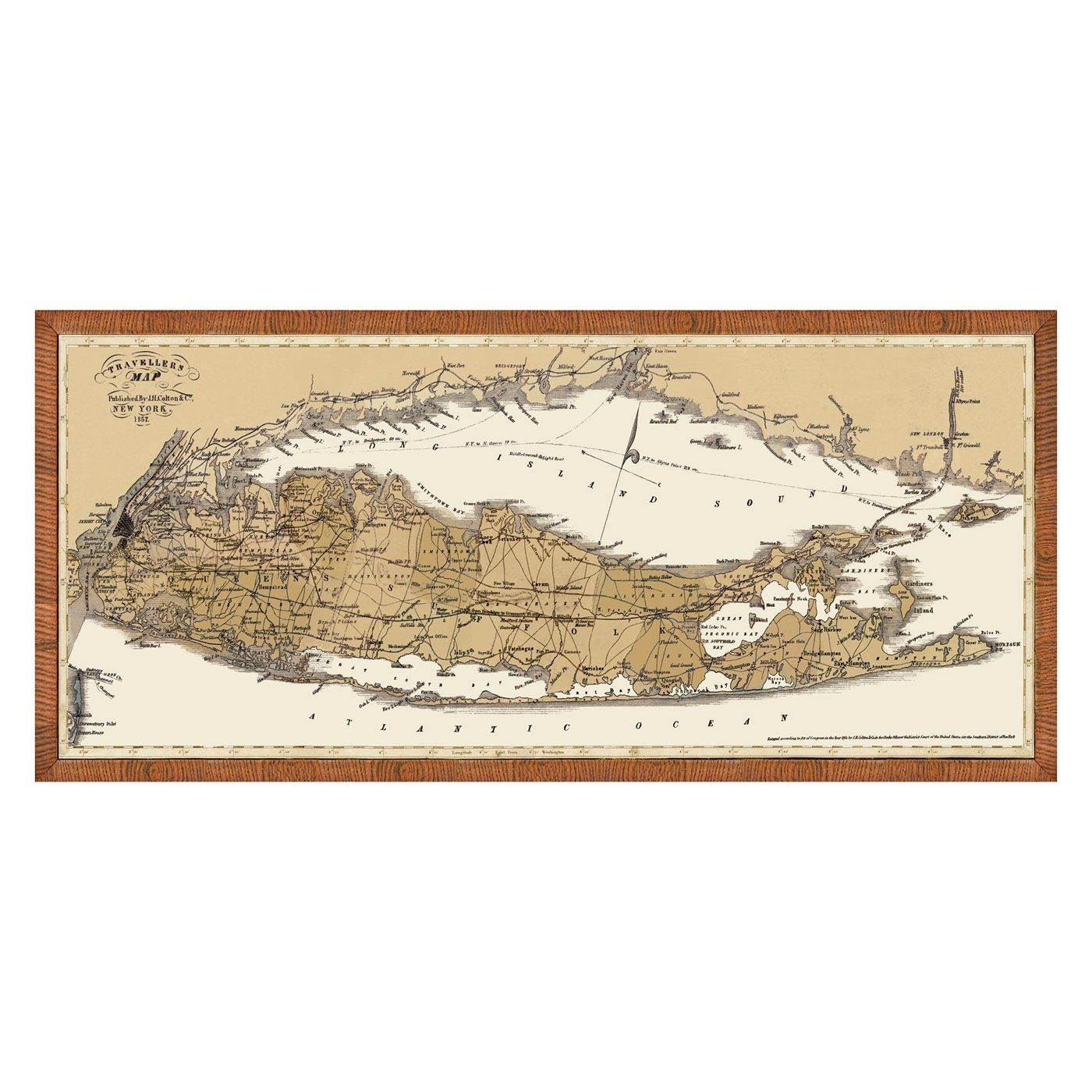 Vintage Print 1429 63 Map Of Long Island & Connecticut Framed Art At Pertaining To Newest Long Island Wall Art (Gallery 9 of 20)
