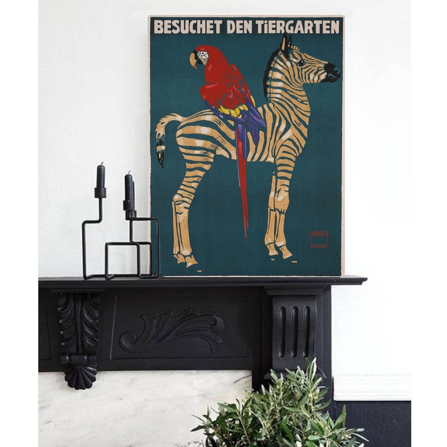 Vintage Reissue Munich Zoo Zebra, Canvas Arthoxton Art House With 2017 Zebra Canvas Wall Art (View 18 of 20)