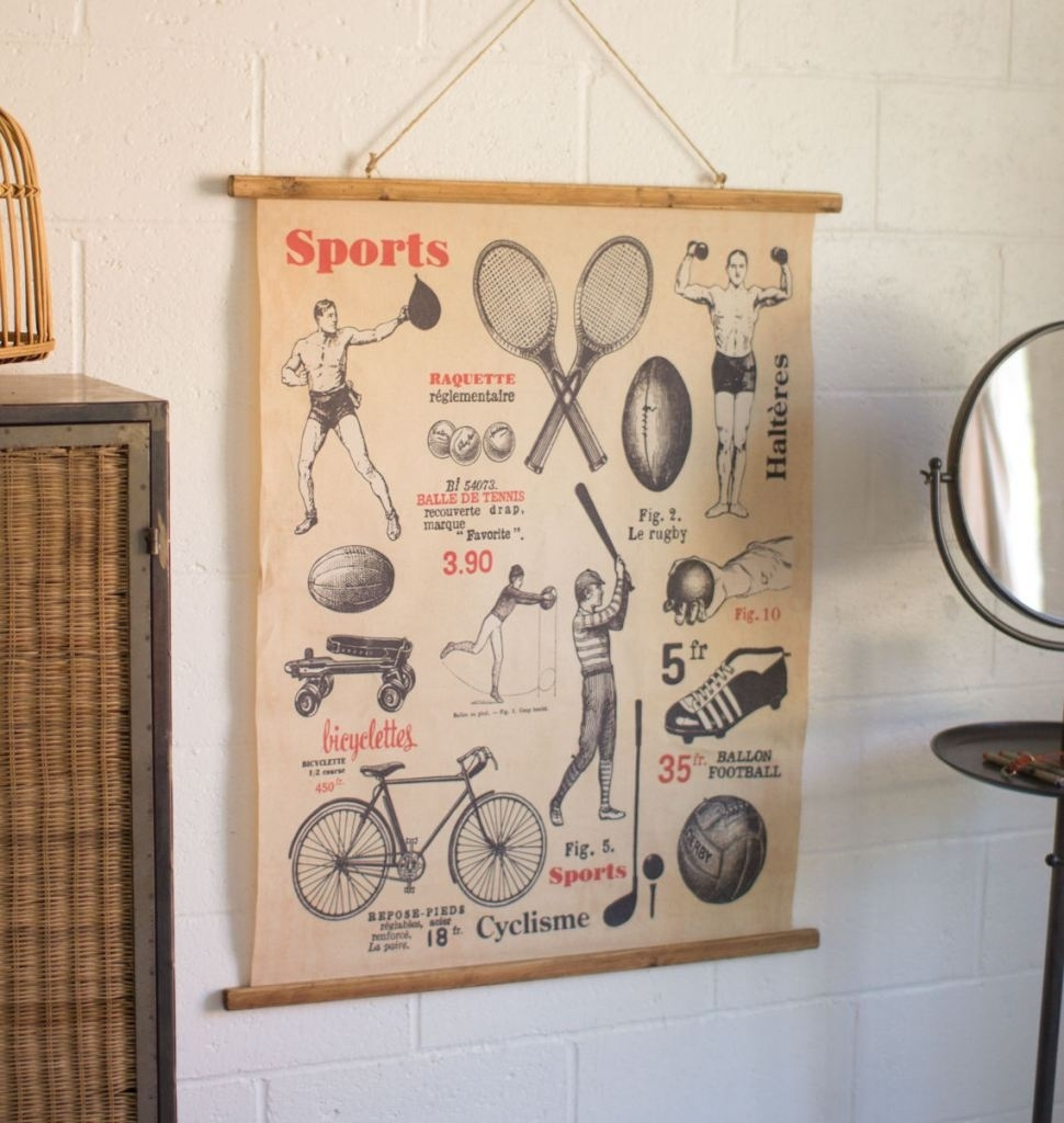 Vintage Style Sports Wall Print – Trendy Essential Decor | Home & Garden With Most Up To Date Sports Wall Art (View 12 of 20)